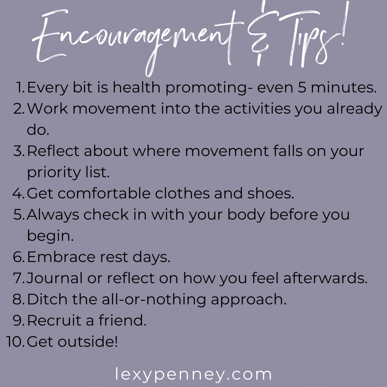 encouragement and tips for a healthy exercise relationship