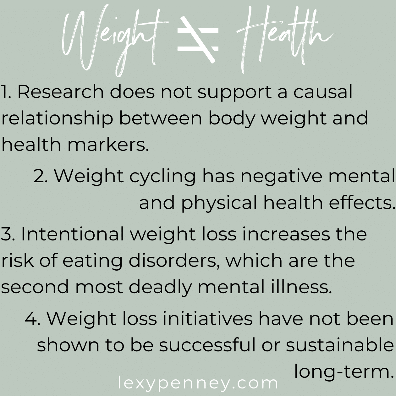 weight does not equal health