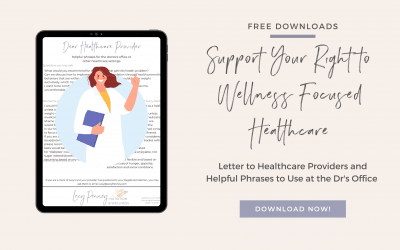 Support Your Right to Wellness Focused Healthcare; Letter to Healthcare Providers and Helpful Phrases