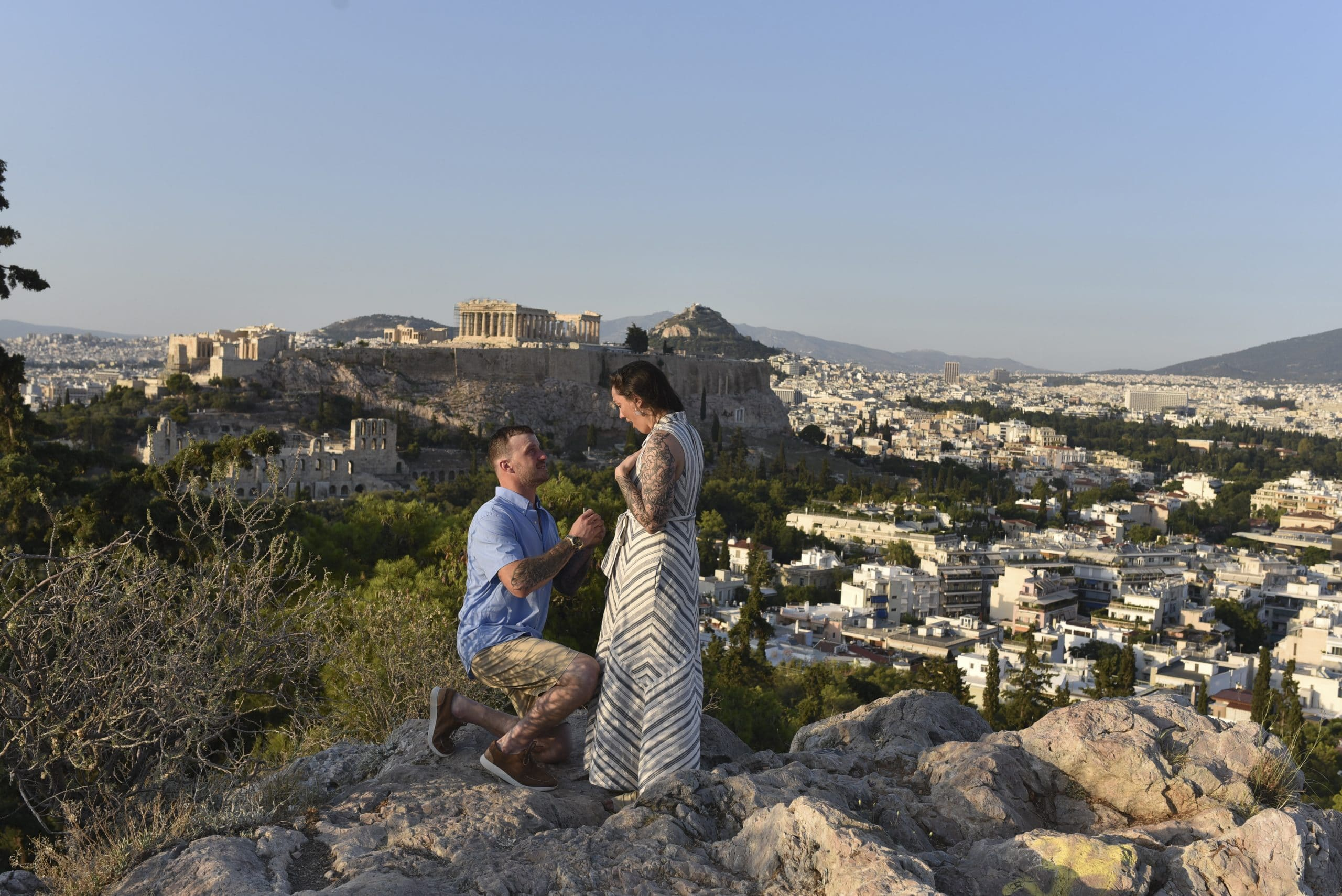 engaged in greece at the acropolis