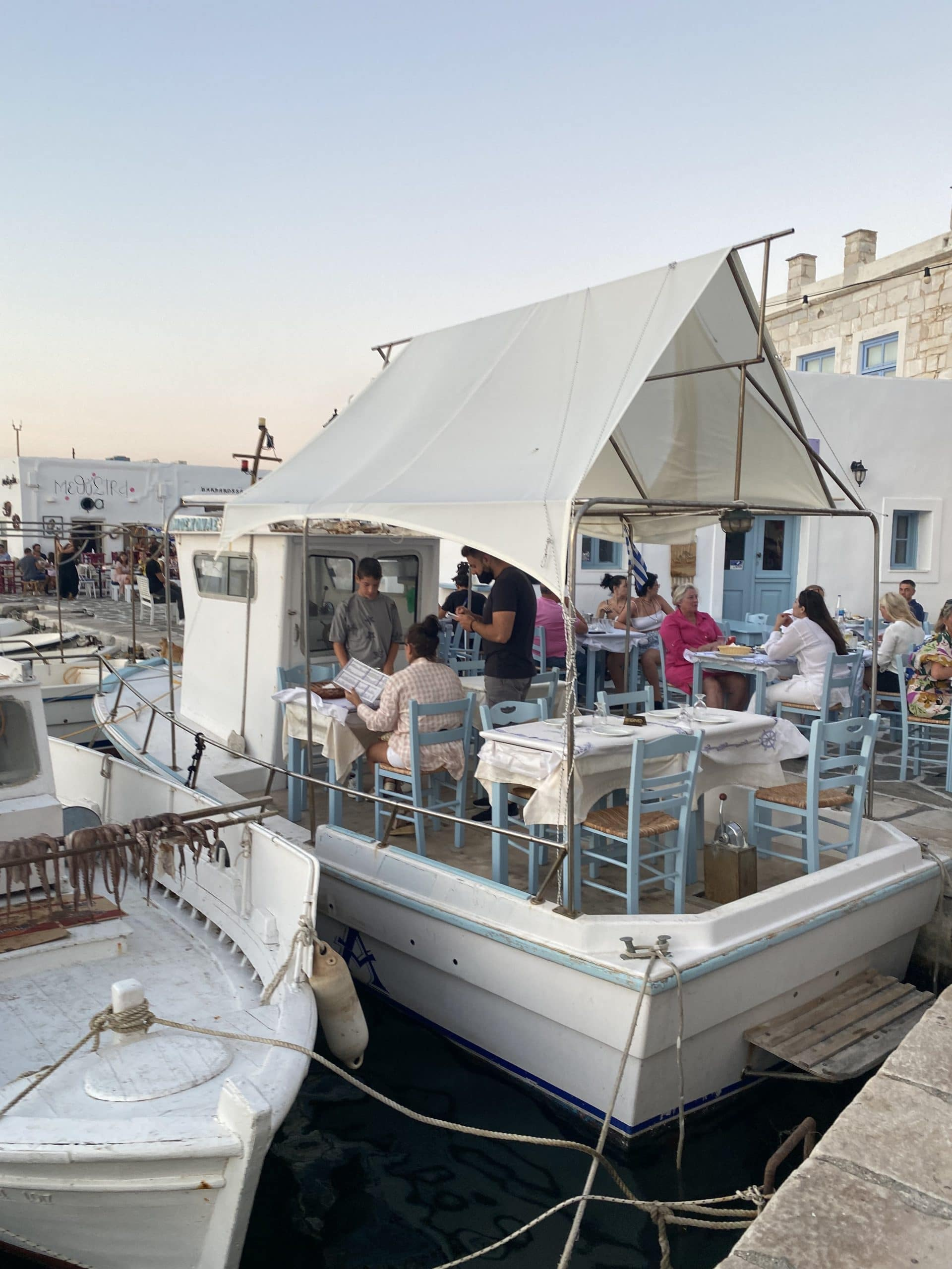 eat on a boat in paros greece!